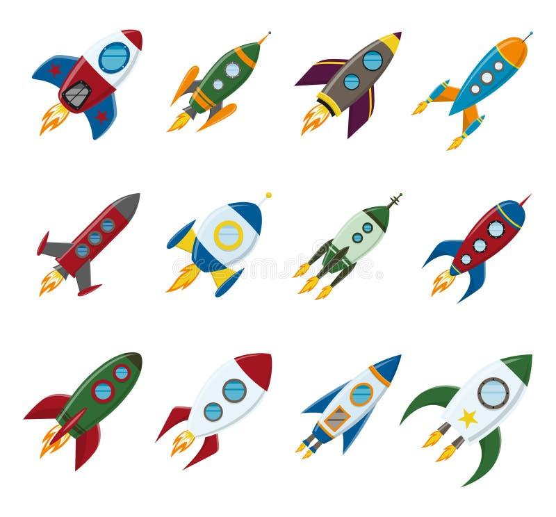 传染媒介减速火箭的太空火箭船象在一个平的样式设置了 背景的设计元素与项目开始和 皇族释放例证
