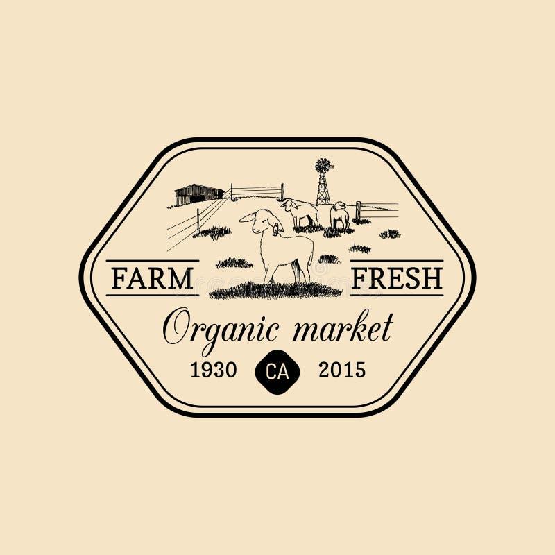 传染媒介减速火箭的家庭农厂略写法 有机优质合格品徽章 手速写了农村风景例证 库存例证