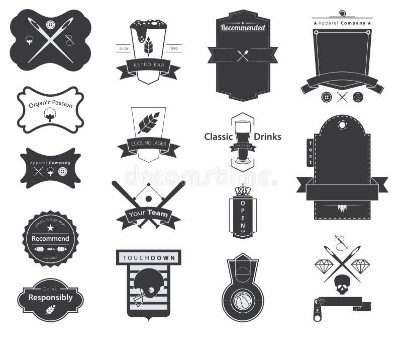 传染媒介减速火箭的徽章,商标,标签象  向量例证