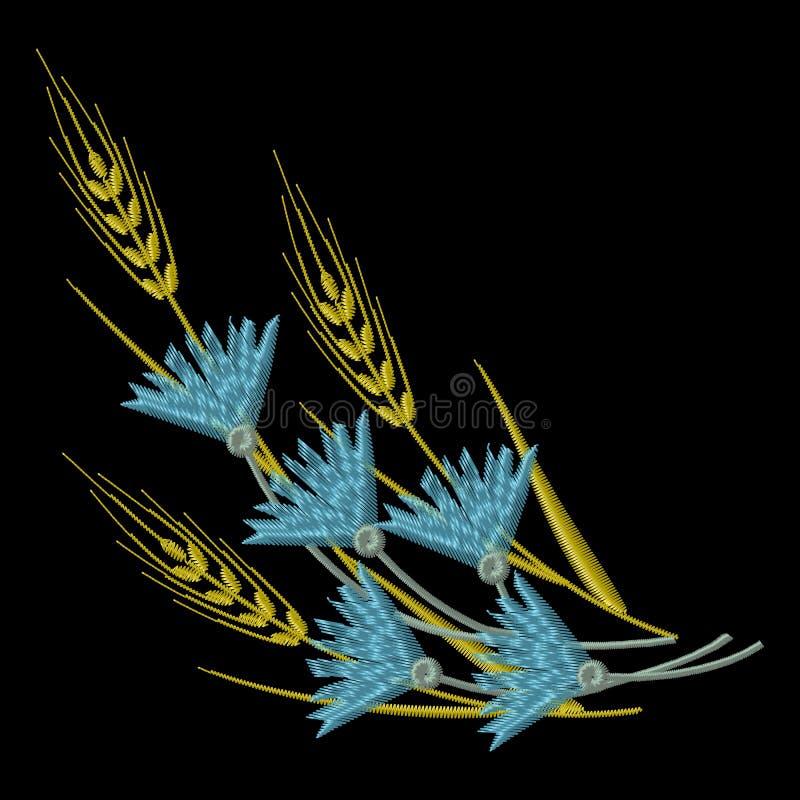 传染媒介刺绣麦子耳朵和蓝色矢车菊 向量例证