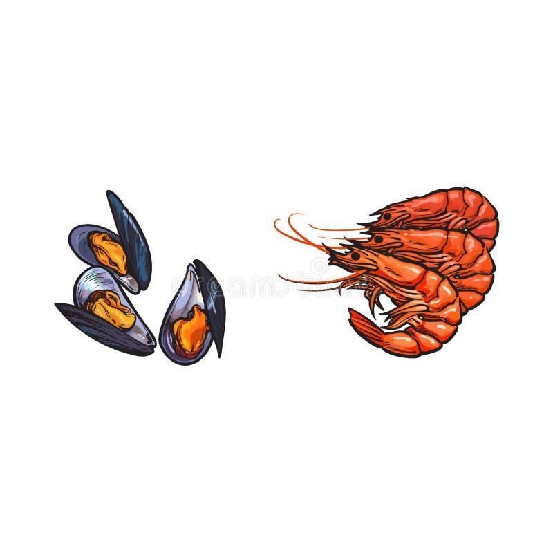 传染媒介剪影小龙虾龙虾,被设置的淡菜 库存例证