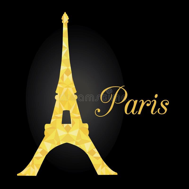 传染媒介巴黎剪影的金黄发光的艾菲尔铁塔在晚上 巴黎 在黑背景的法国地标 向量例证