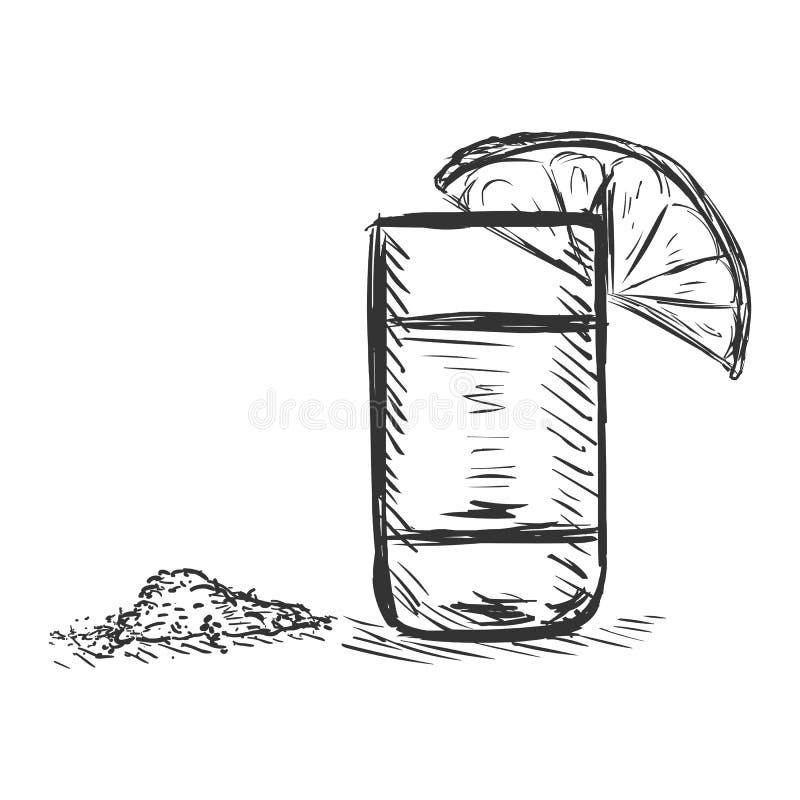 传染媒介剪影被射击与石灰和盐的龙舌兰酒 库存例证