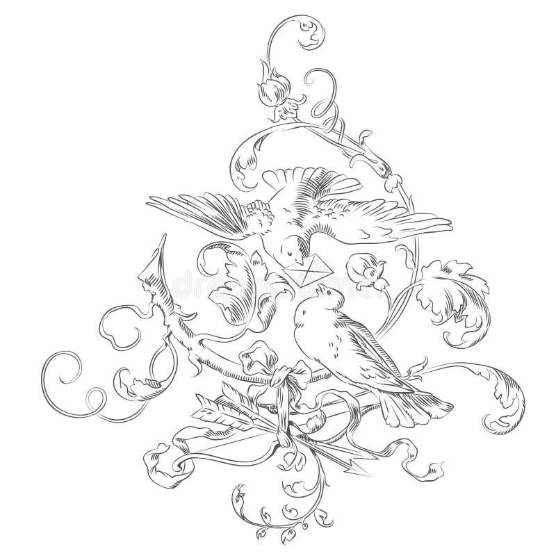 传染媒介剪影-小插图情人节-在树的两只鸠 向量例证