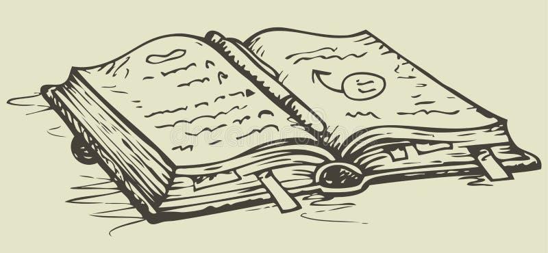 传染媒介剪影 打开有书签的笔记本 向量例证