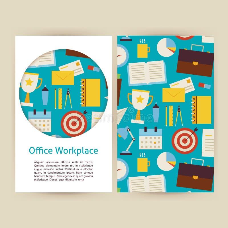 传染媒介办公室工作场所企业横幅设置了模板 向量例证