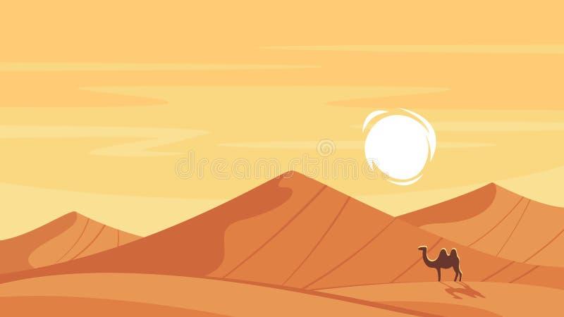 传染媒介动画片与热的沙漠的样式背景 皇族释放例证