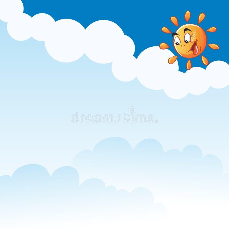 传染媒介动画片在云彩中的微笑的太阳 向量例证
