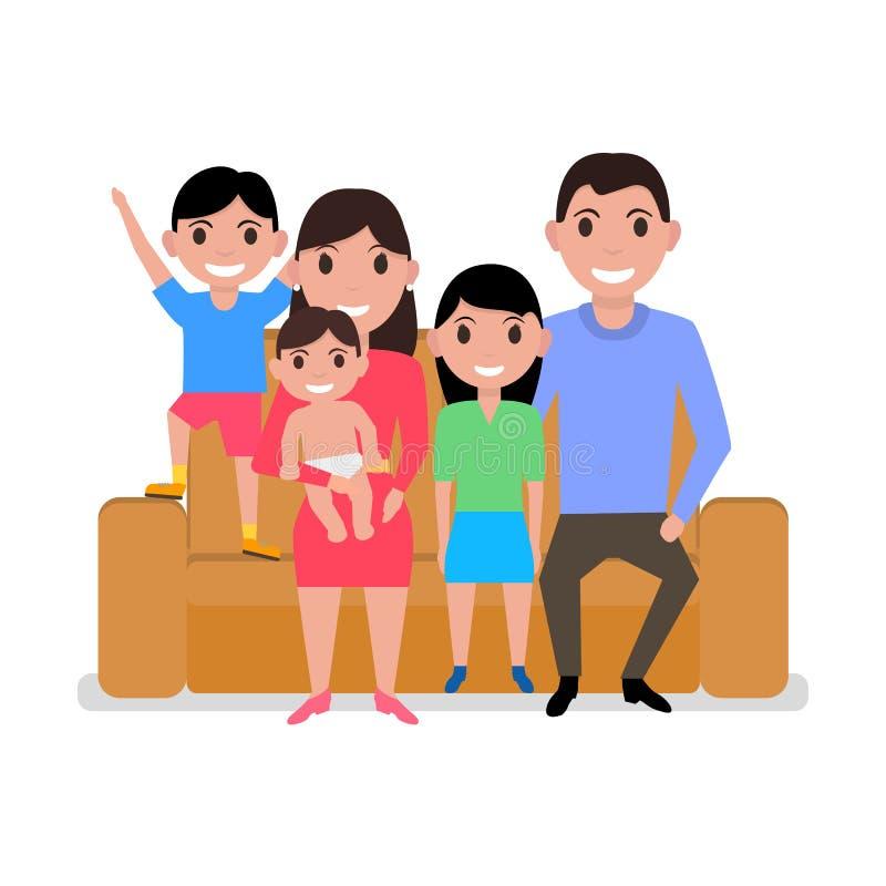 传染媒介动画片愉快的家庭坐沙发 皇族释放例证