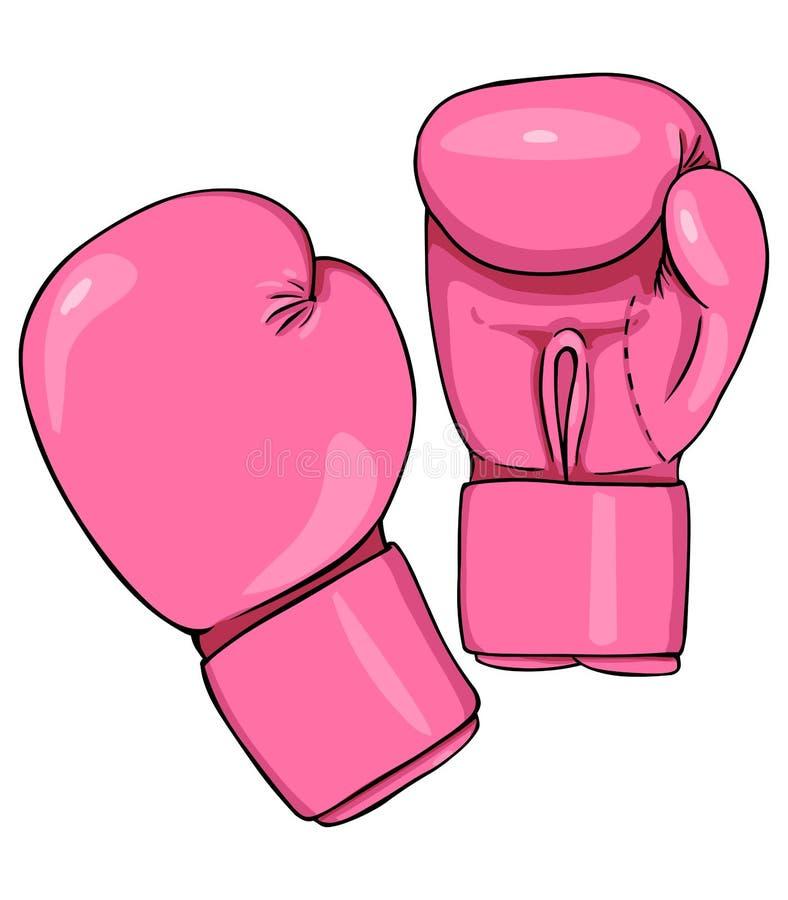 传染媒介动画片桃红色拳击手套 向量例证