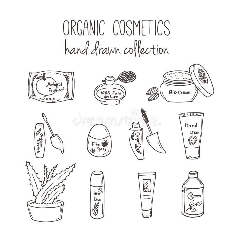 传染媒介化妆用品瓶 有机化妆用品例证 乱画护肤项目 草本手拉的集合 温泉元素 向量例证