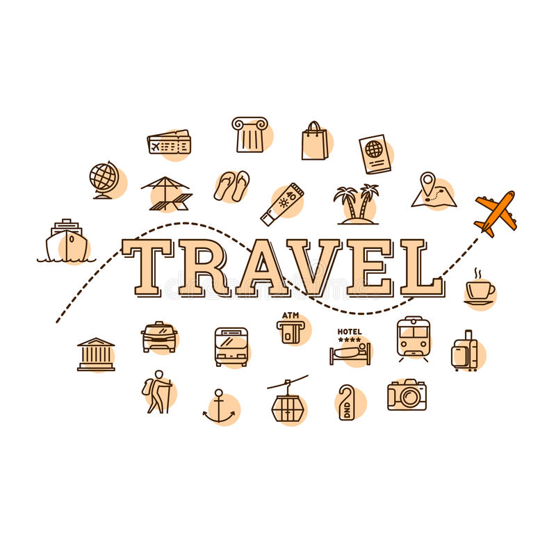 传染媒介单色旅行相关概念例证 皇族释放例证