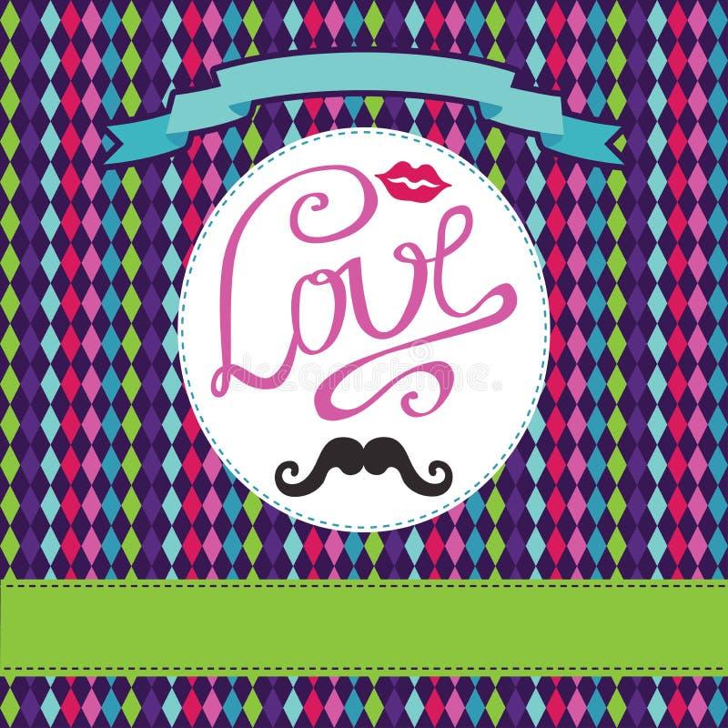 传染媒介卡片有几何背景 题字爱,嘴唇, mou 库存例证