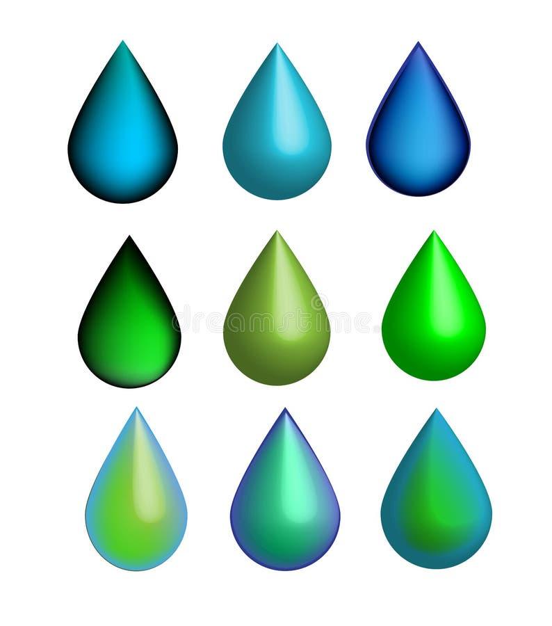 传染媒介6发光的下落3D集合,绿色和蓝色象,水,生态,自然 库存例证