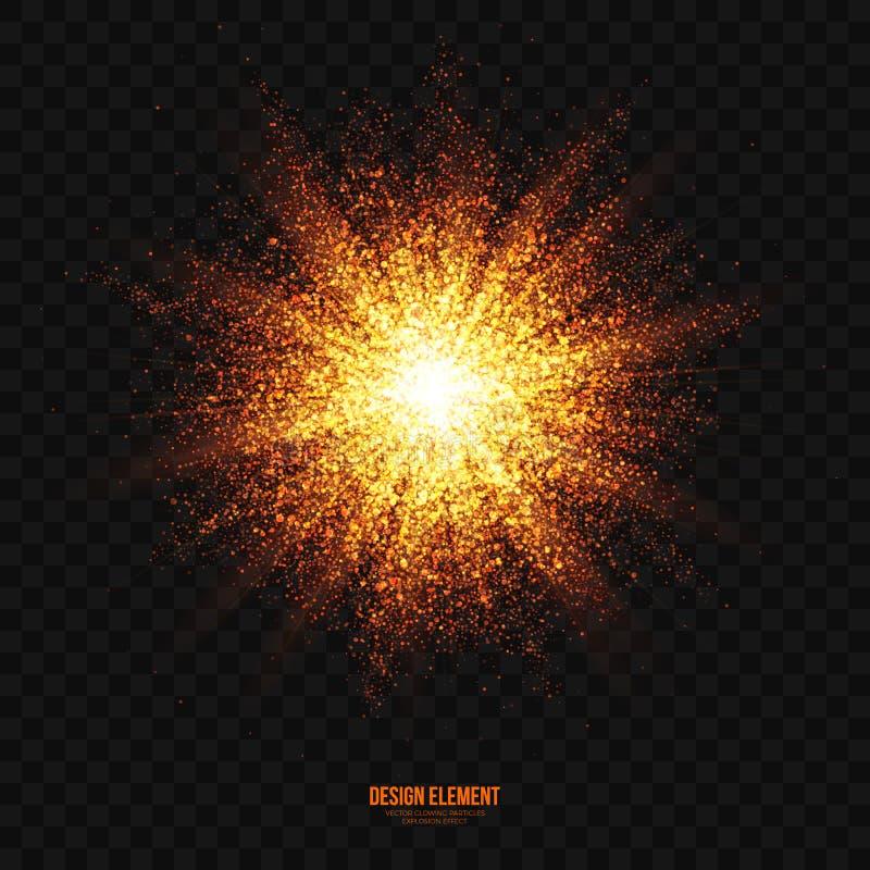 传染媒介发光的金黄微粒爆炸作用设计元素 库存例证