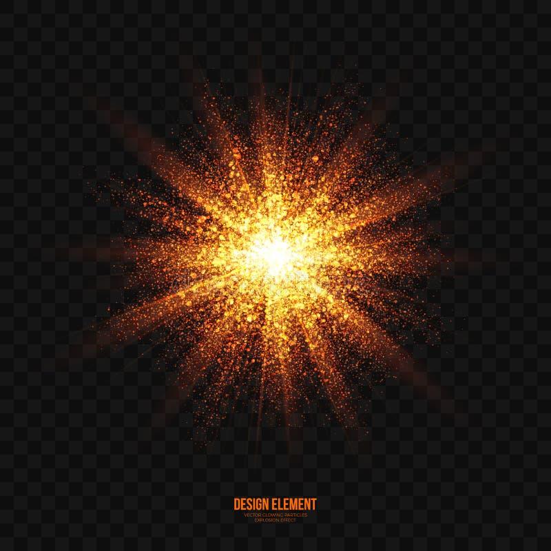 传染媒介发光的金黄微粒爆炸作用设计元素 皇族释放例证