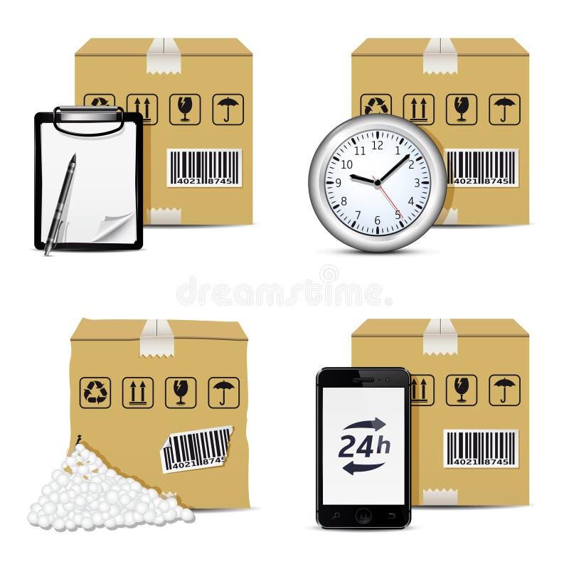 传染媒介发货象 2件装饰品设置了 库存例证