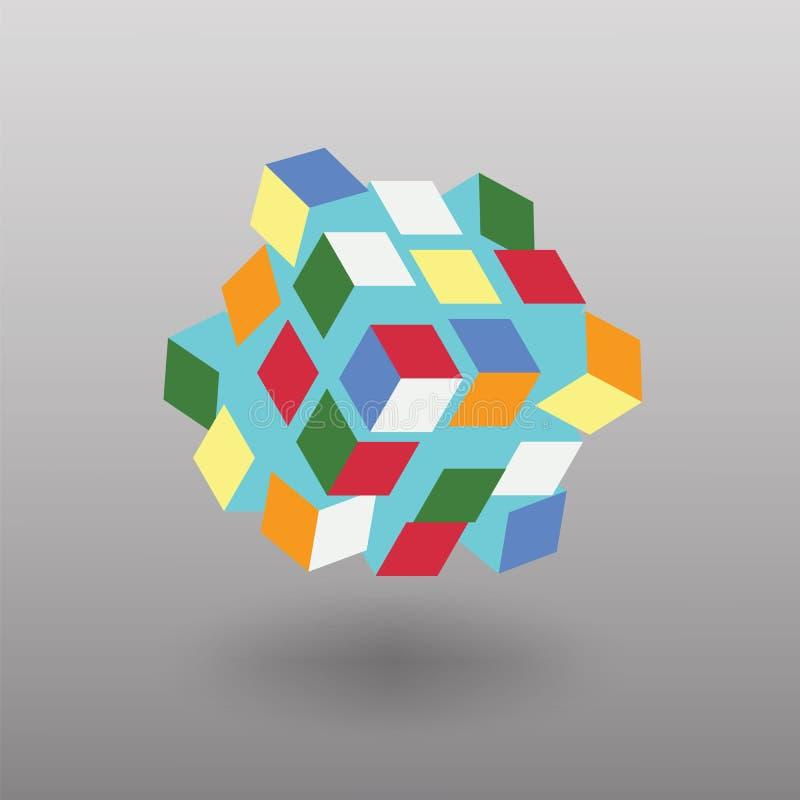 传染媒介变压器立方体相似与Rubik& x27; s立方体 皇族释放例证