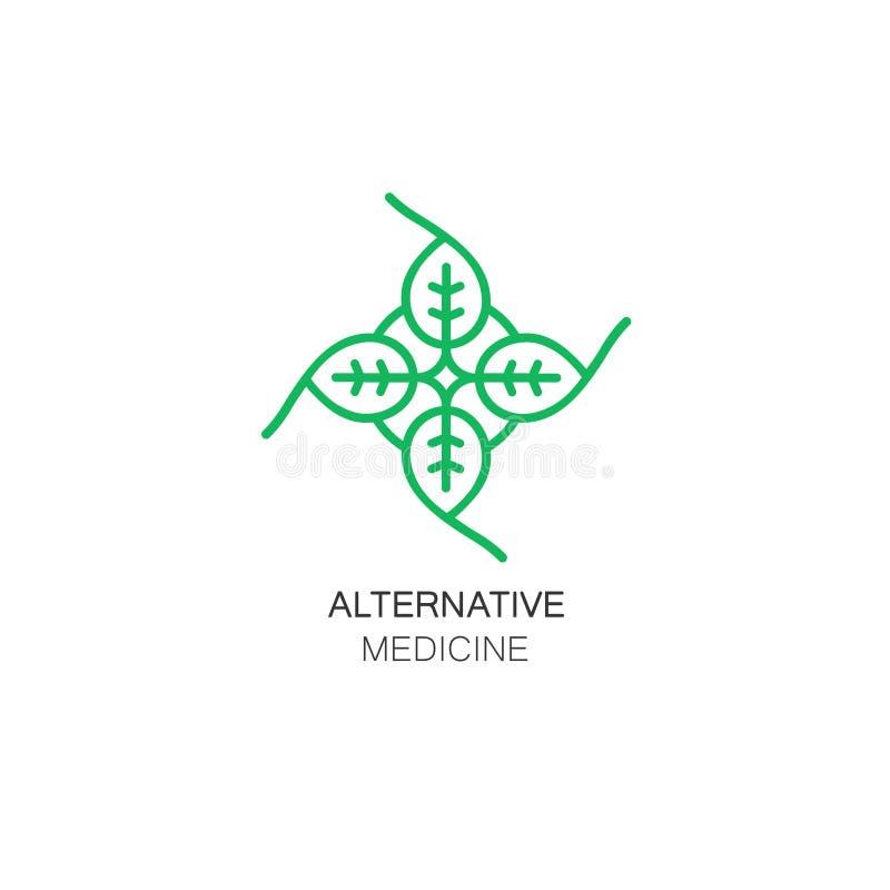 传染媒介叶子象和商标设计在概述样式-替代医学的抽象组合图案的模板 皇族释放例证