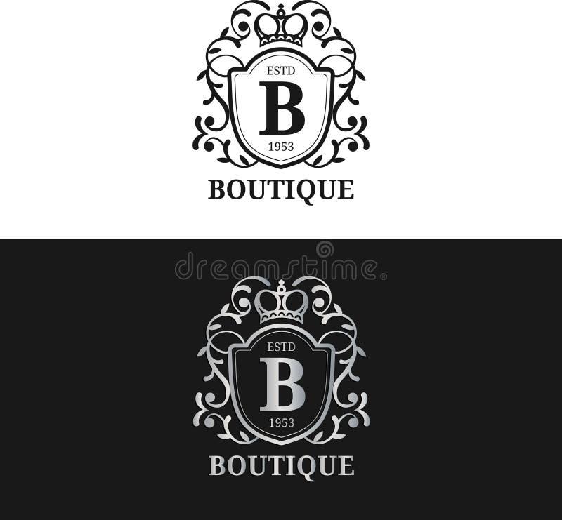 传染媒介组合图案商标模板 豪华书信设计 与冠例证的优美的葡萄酒字符 向量例证