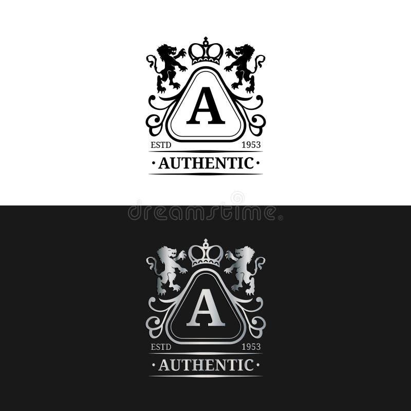 传染媒介组合图案商标模板 豪华书信设计 与冠和狮子例证的优美的葡萄酒字符 向量例证