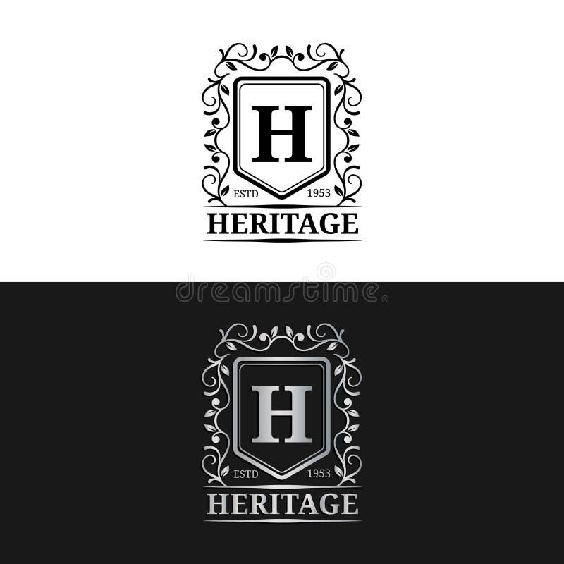传染媒介组合图案商标模板 豪华书信设计 与用于旅馆的冠例证的优美的葡萄酒字符等 库存例证