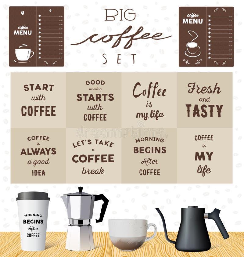 传染媒介咖啡具:关于咖啡的刺激行情 库存例证
