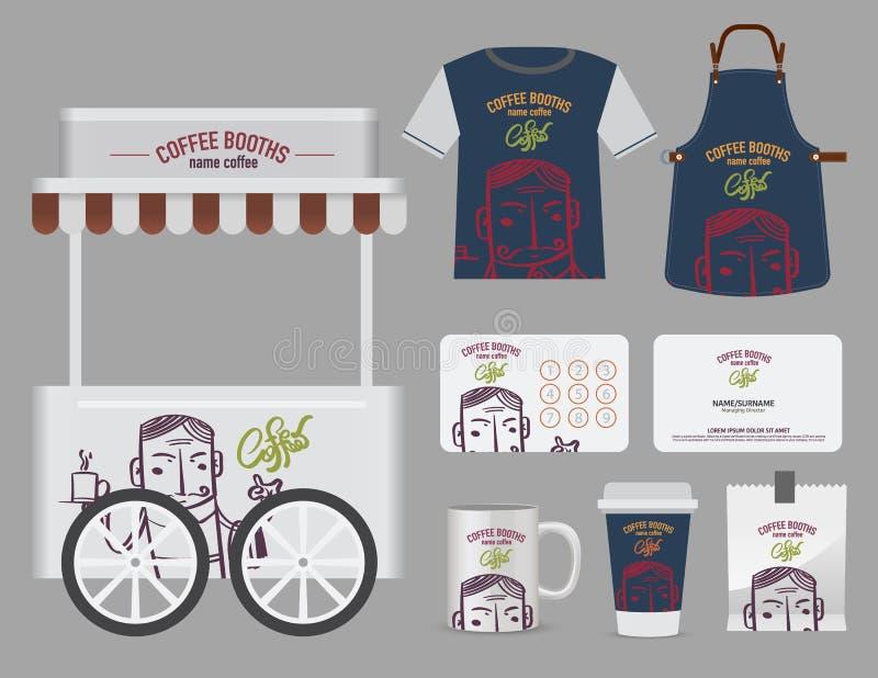 传染媒介咖啡摊设置了, T恤杉、名片和自由标志des 库存例证