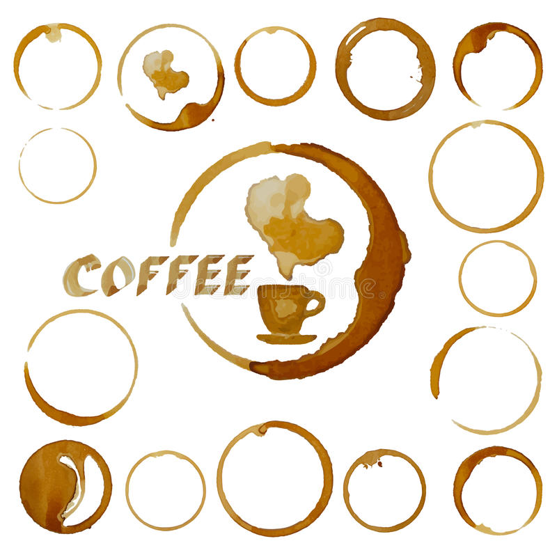传染媒介咖啡杯污点 在白色隔绝的咖啡污点 向量例证