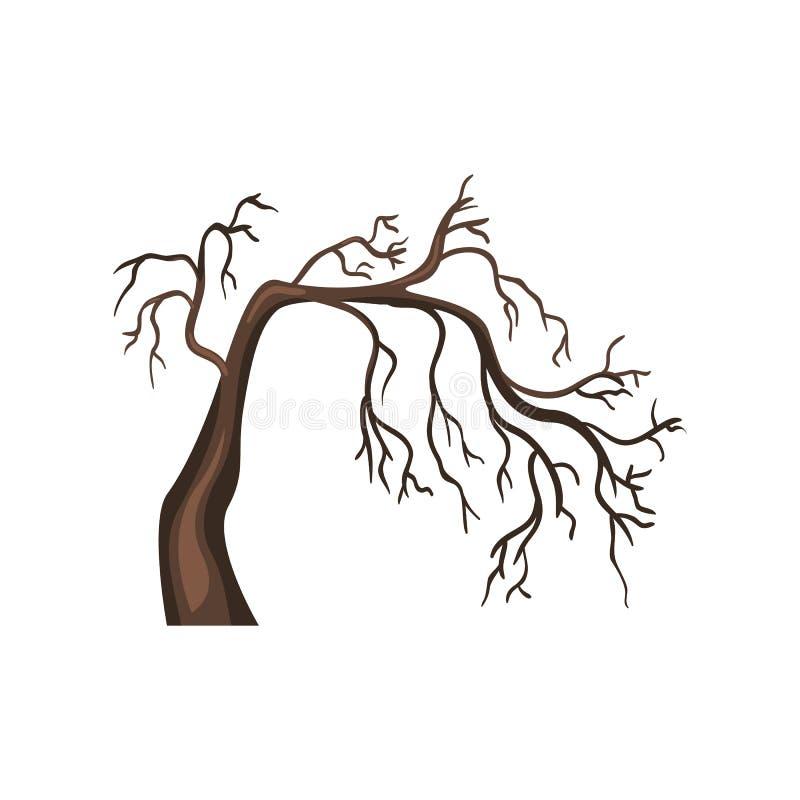 传染媒介唯一动画片布朗光秃的树 皇族释放例证