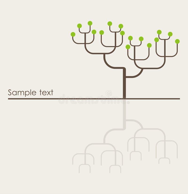 传染媒介唯一动画片布朗光秃的树 库存例证