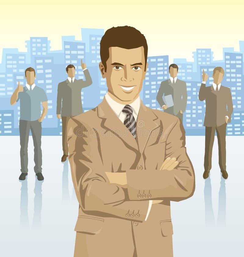 传染媒介商人商人和剪影  库存例证