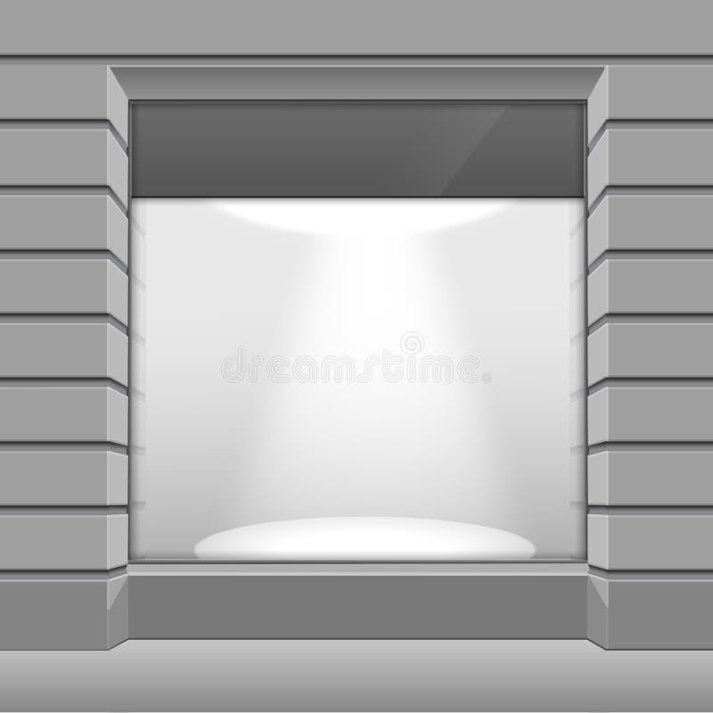 传染媒介商店精品店与大窗口的商店前面 向量例证