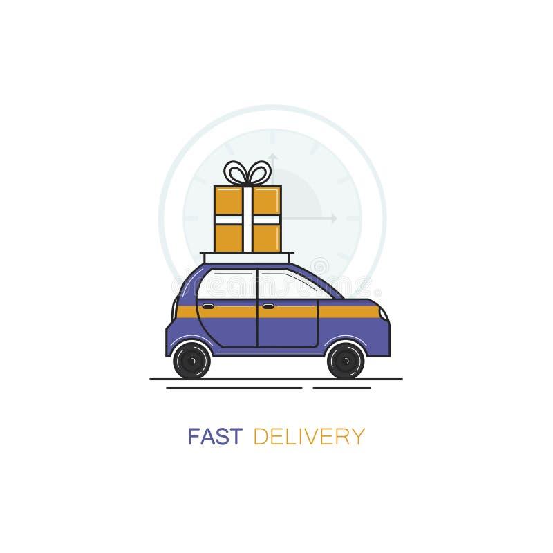 传染媒介商标在平的线性样式的设计模板-有giftbox礼物的快速的送货车 皇族释放例证