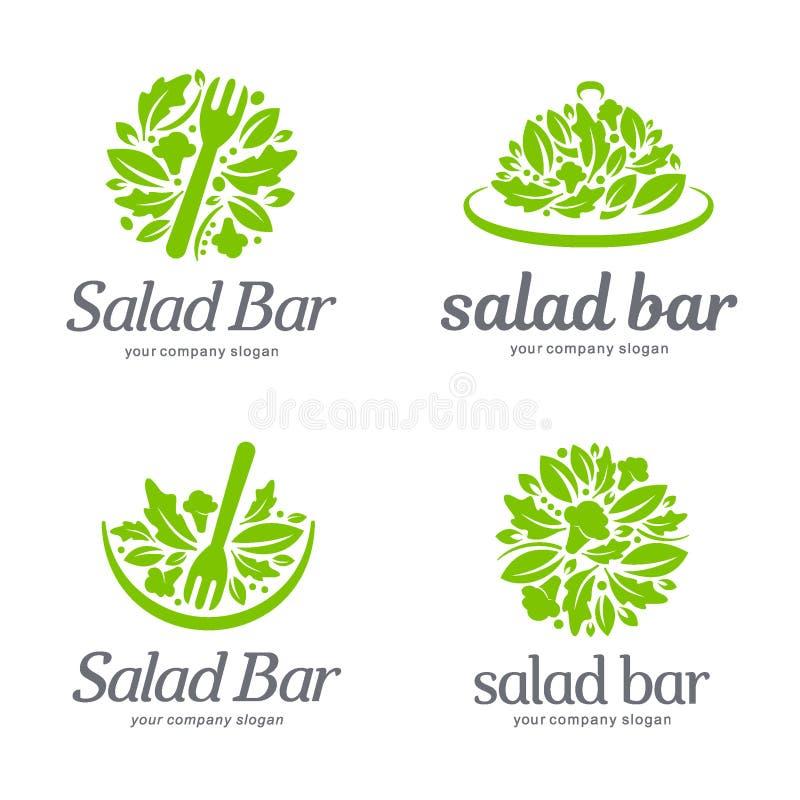 传染媒介商标模板 沙拉柜台 库存例证