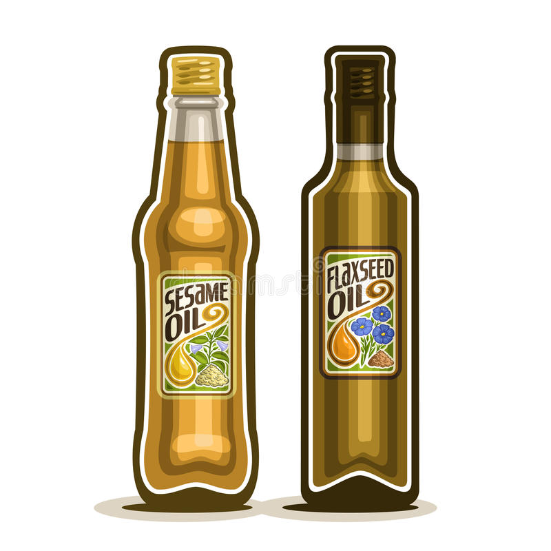 传染媒介商标装瓶亚麻,麻油 皇族释放例证