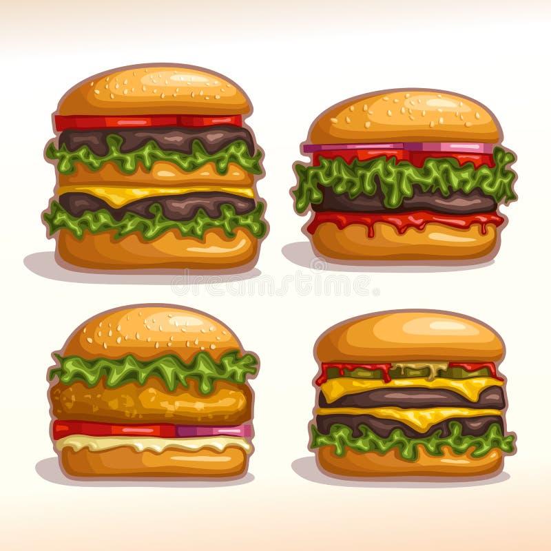 传染媒介商标集合汉堡 向量例证