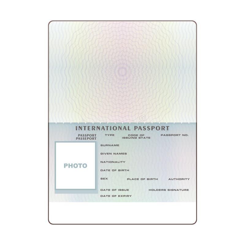 传染媒介国际性组织开放护照空白模板 库存例证