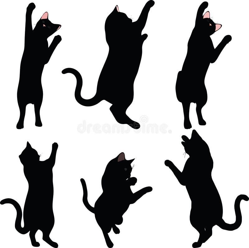 传染媒介图象-在白色背景在伸手可及的距离姿势的猫剪影隔绝的 皇族释放例证