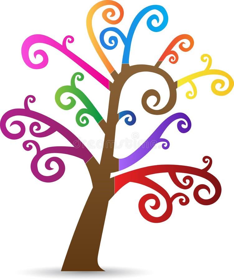 五颜六色的漩涡树 库存例证