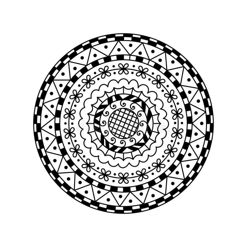 传染媒介圆的坛场 种族装饰装饰品 着色页 库存例证