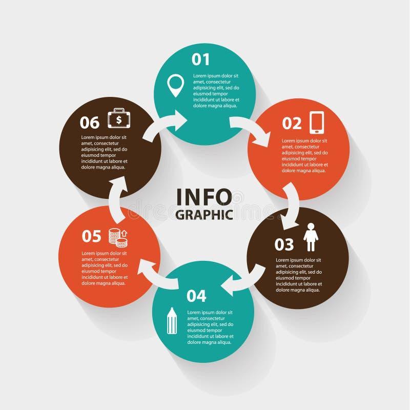 传染媒介圈子infographic摘要的箭头 库存例证
