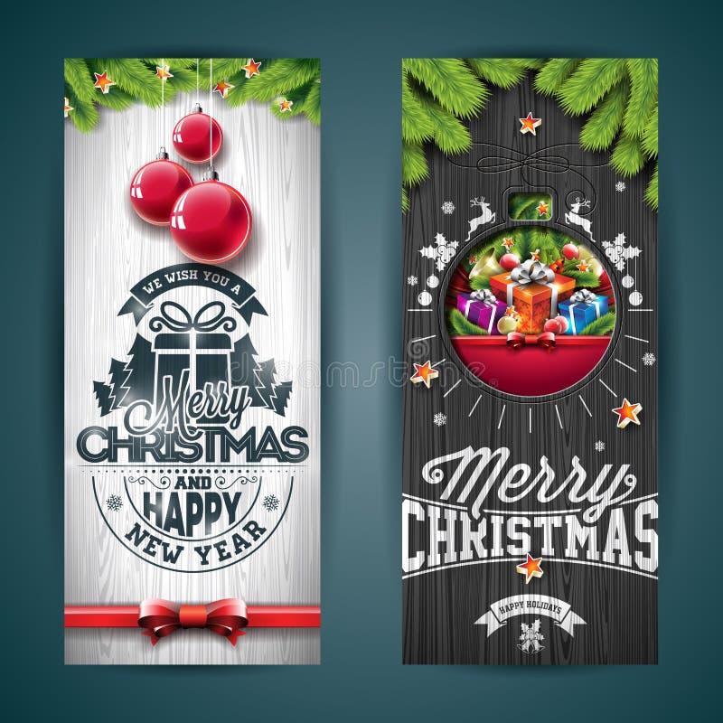 传染媒介圣诞快乐与印刷术设计的贺卡例证和杉树在葡萄酒木头背景分支 库存例证