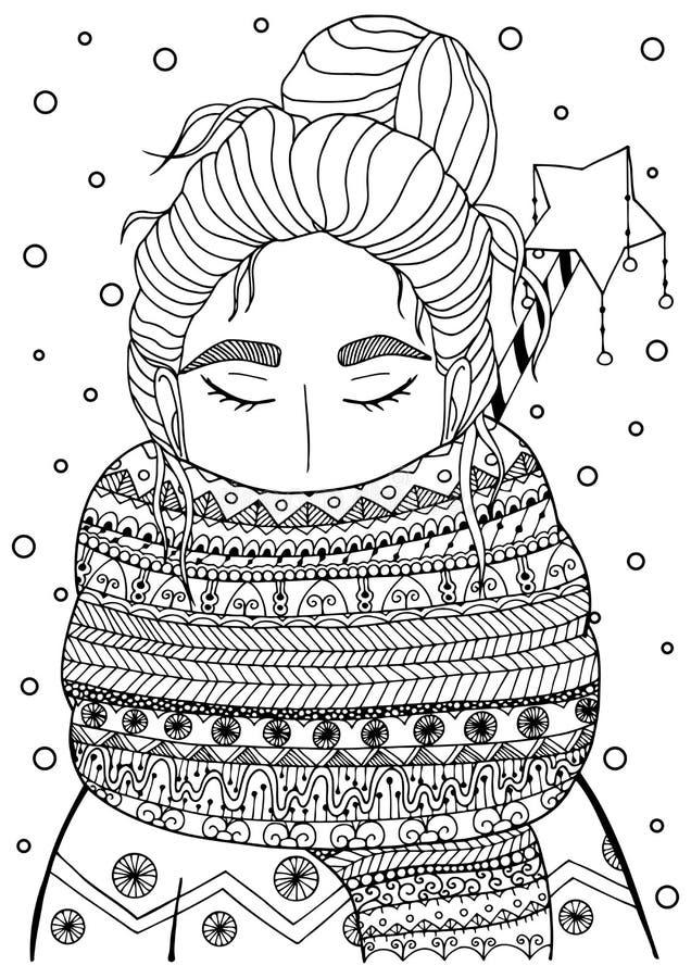 传染媒介圣诞节例证围巾的zentangl女孩 乱画图画 皇族释放例证