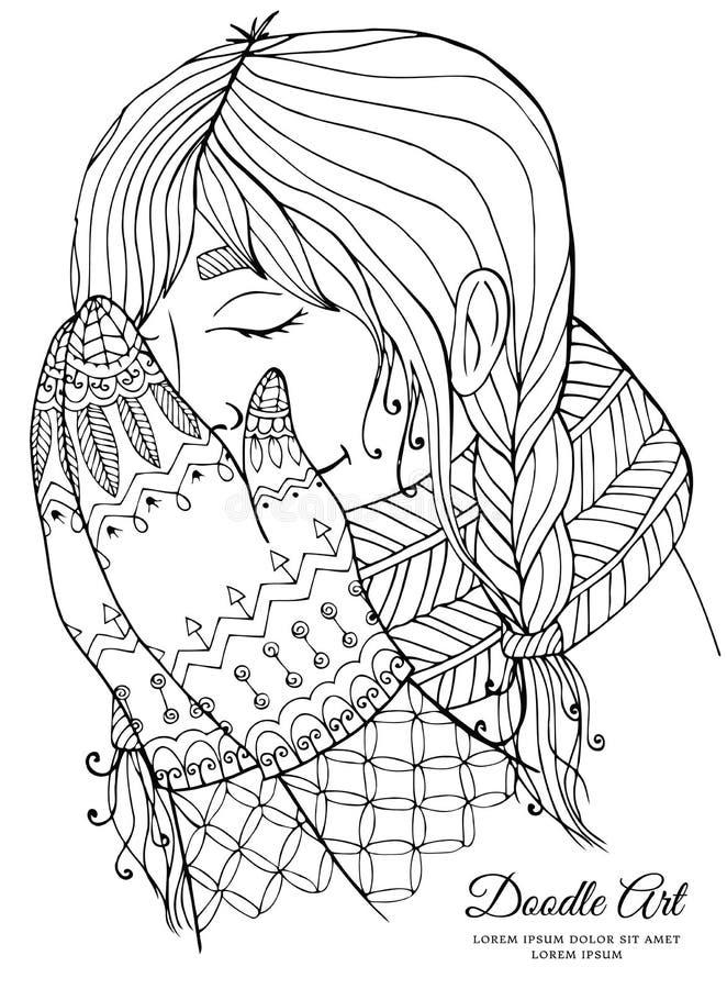 传染媒介圣诞节例证围巾的zentangl女孩 乱画图画 库存例证