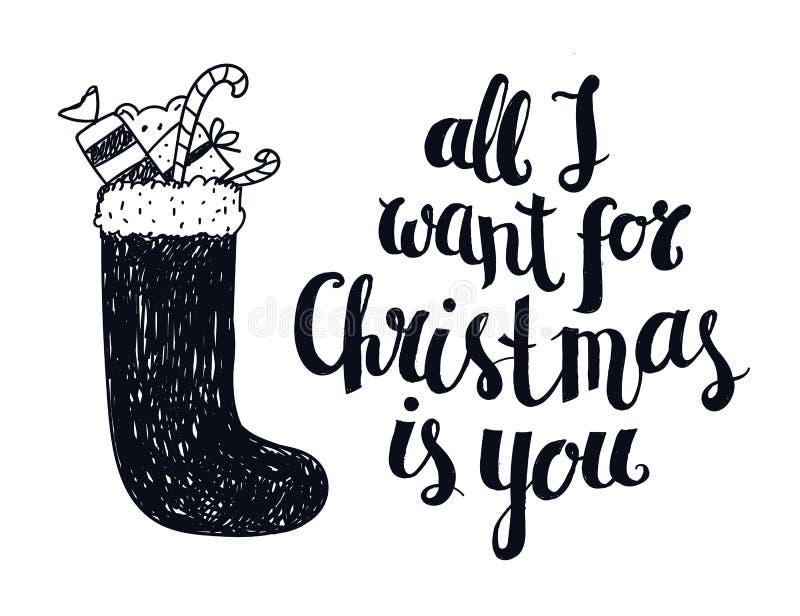 传染媒介圣诞节冬天字法,问候行情 库存例证