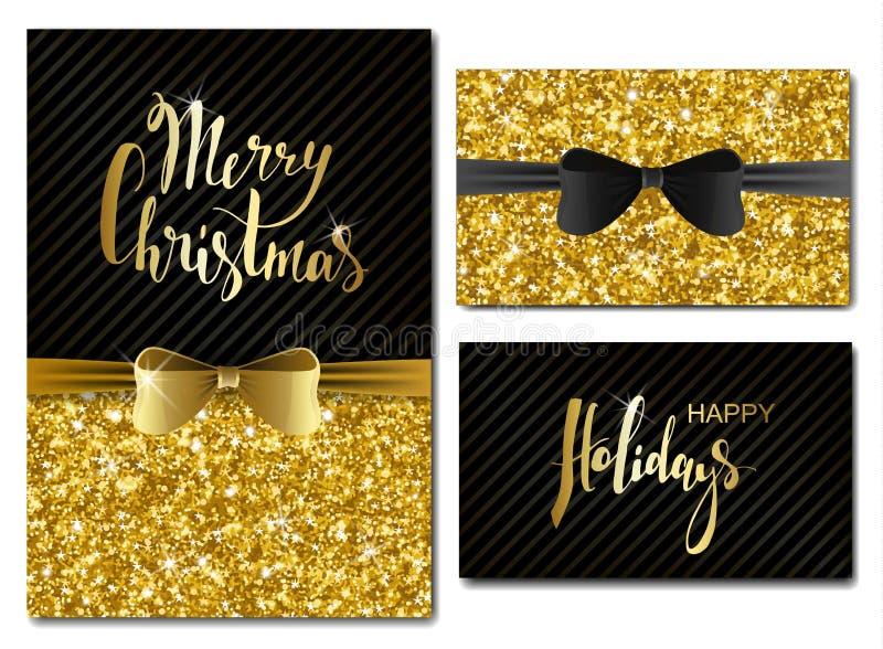 传染媒介圣诞节和新年与发光的闪烁和装饰弓的邀请卡片 金子闪烁纹理,衣服饰物之小金属片样式 Ligh 皇族释放例证