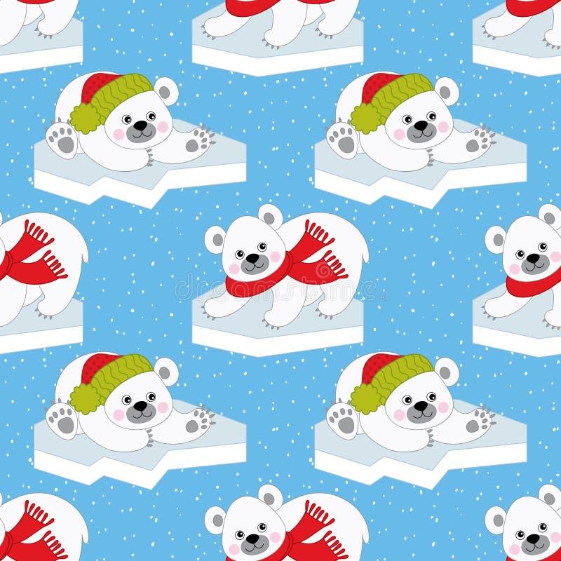 传染媒介圣诞节和新年无缝的样式与北极熊 向量例证