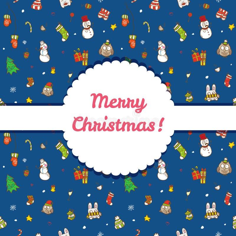 传染媒介圣诞节和新年无缝的样式 库存例证