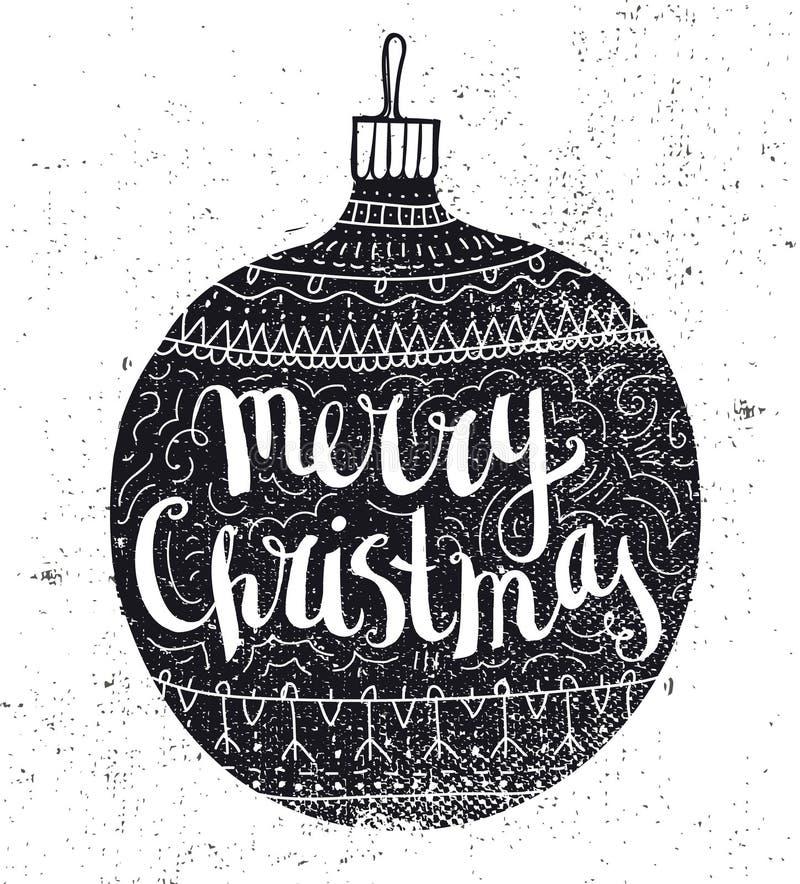 传染媒介圣诞节球葡萄酒卡片 拉长的现有量 向量例证